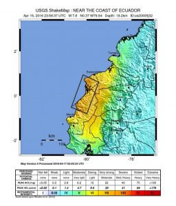 Ecuador earthquake shakemap
