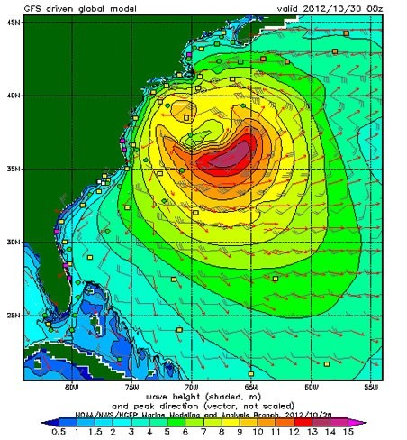 Hurricane Sandy potential storm surge on U.S. east coast