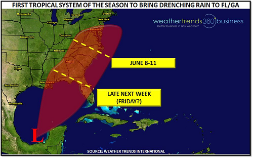 Weather Trends International's forecast for potential tropical storm formation