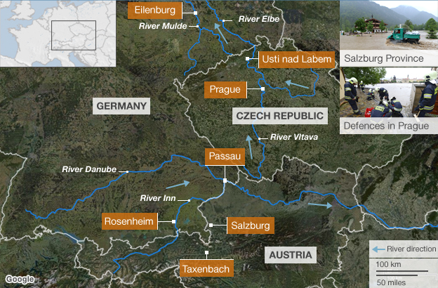 Map showing location of central Europe flooding