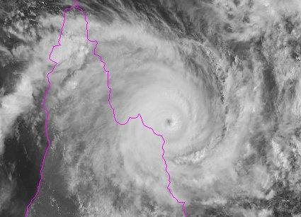 Cyclone Ita satellite image of landfall