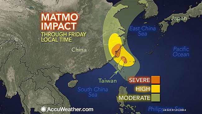Impact forecast map for typhoon Matmo