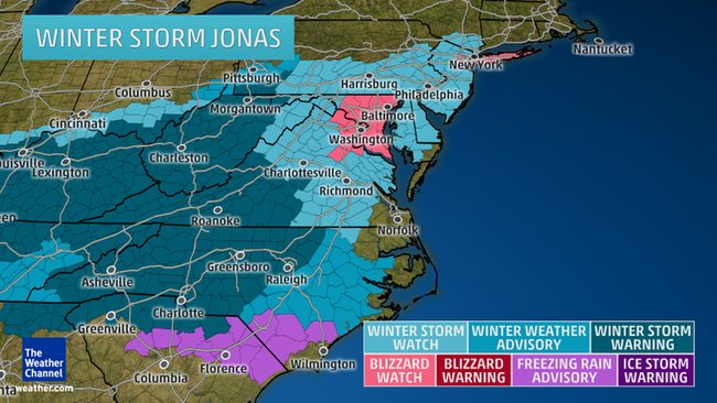 Winter storm Jonas watches and warnings