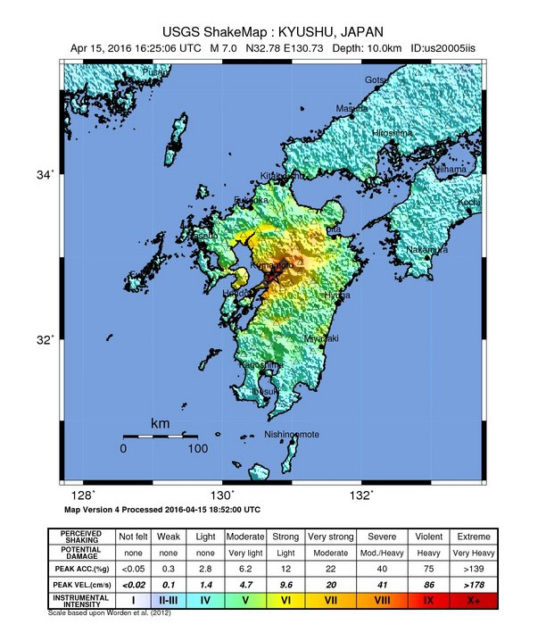 Kumamoto, Japan earthquake shake map - From the USGS