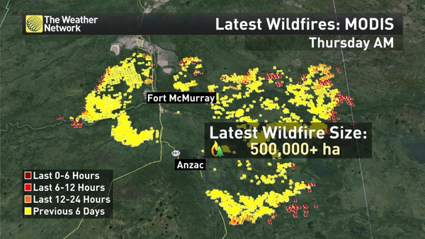 Fort McMurray wildfire extent map