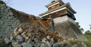 Kumamoto castle damaged by the earthquakes
