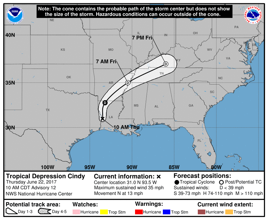 Tropical disturbance three, or Cindy, tracking map and forecast path