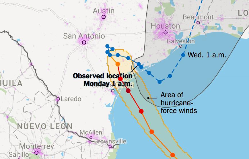 Hurricane Harvey landfall location map