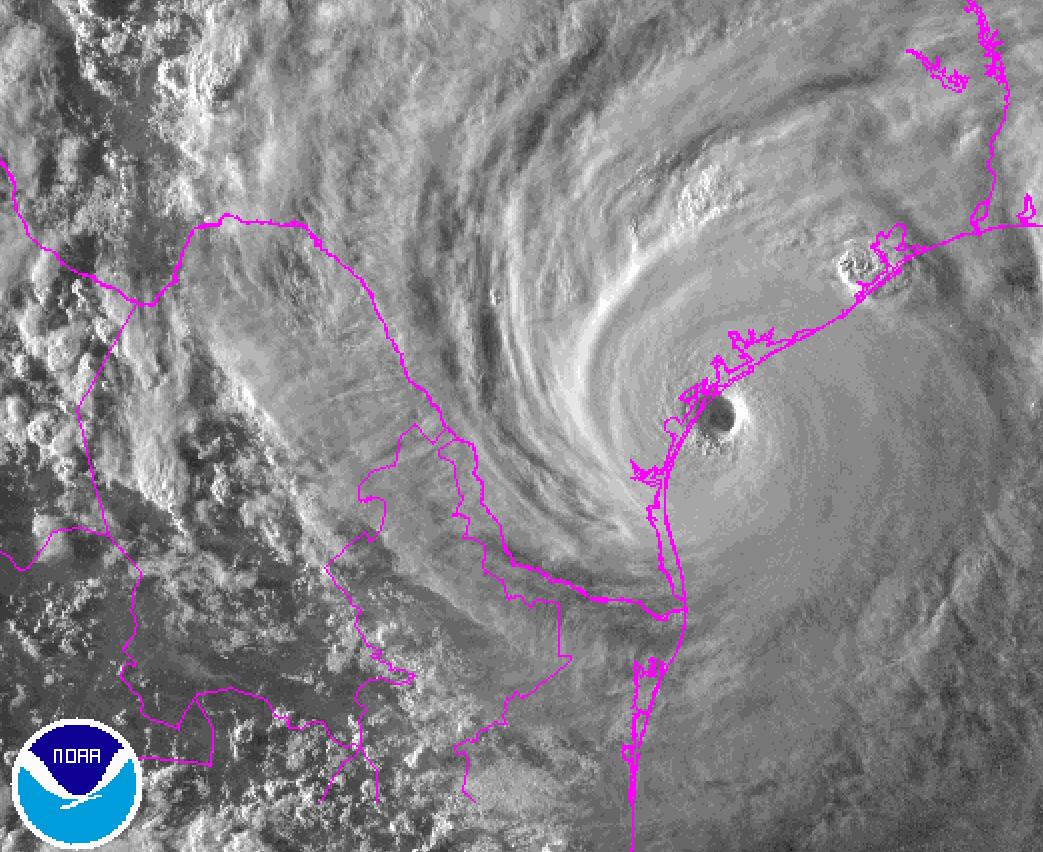 Hurricane Harvey satellite image at landfall