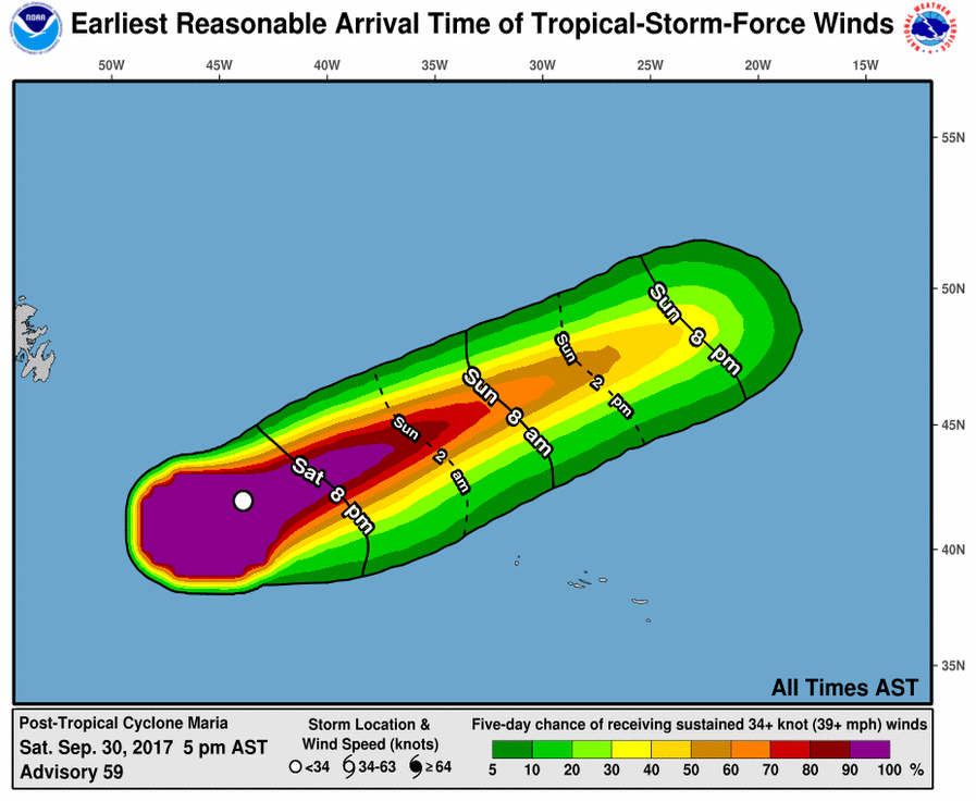 Hurricane Maria tropical storm force winds forecast