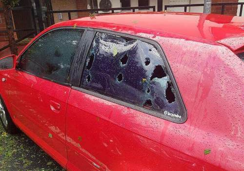 Hail damage to cars was extensive from the two storm outbreaks in Turkey