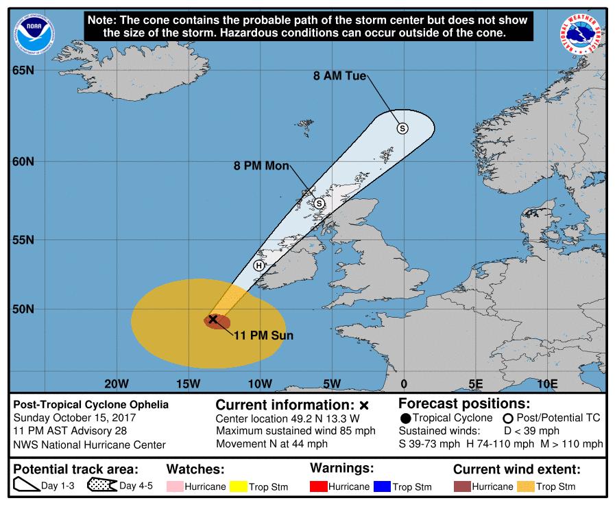 Hurricane Ophelia targeting Ireland