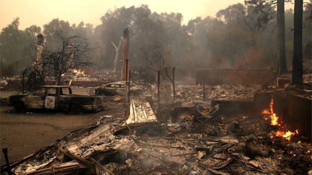 California wildfire image from Getty, via BBC