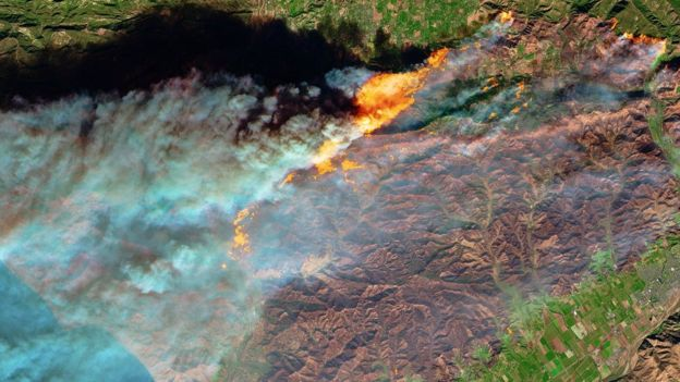 NASA image of wildfires from space via the BBC
