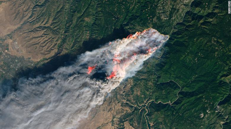 Camp wildfire photo from NASA