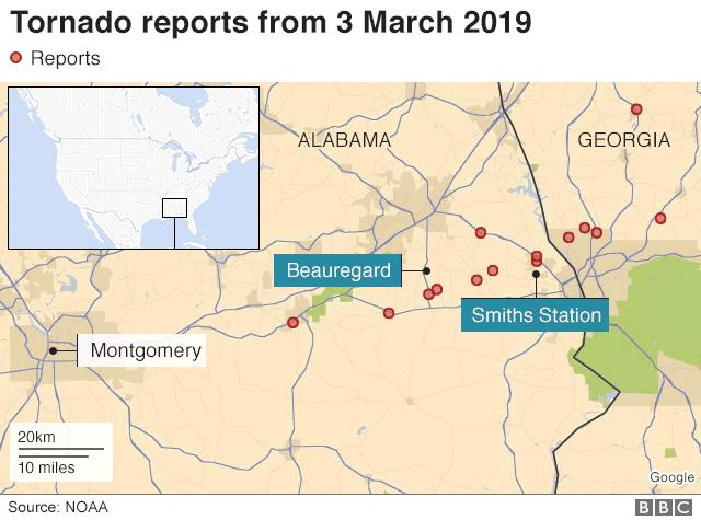 Alabama tornado map via NOAA and the BBC